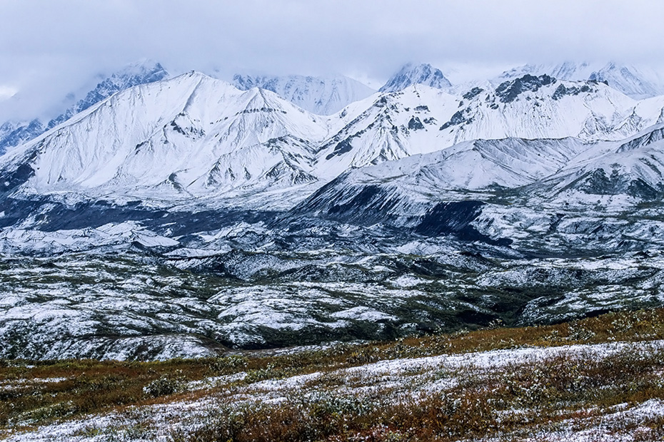 Neuschnee auf den Bergen der Alaskakette und in der Tundra, Denali Nationalpark  -  Alaska, Fresh snow on the mountains of the Alaska range and in the tundra